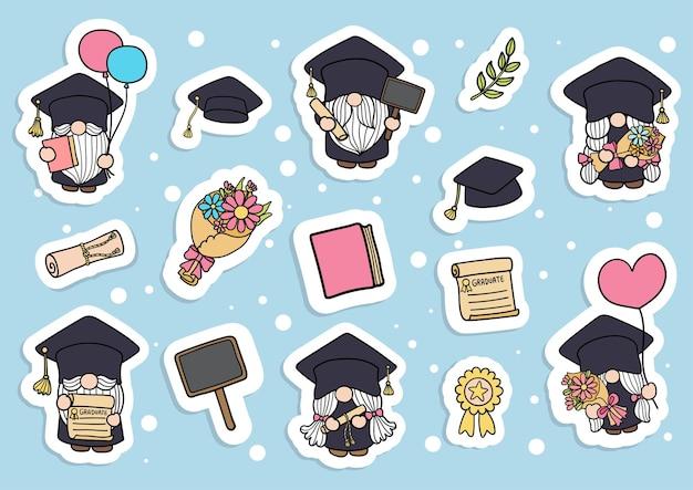 Naklejka graduation gnomes planer ukończenia szkoły i album z wycinkami