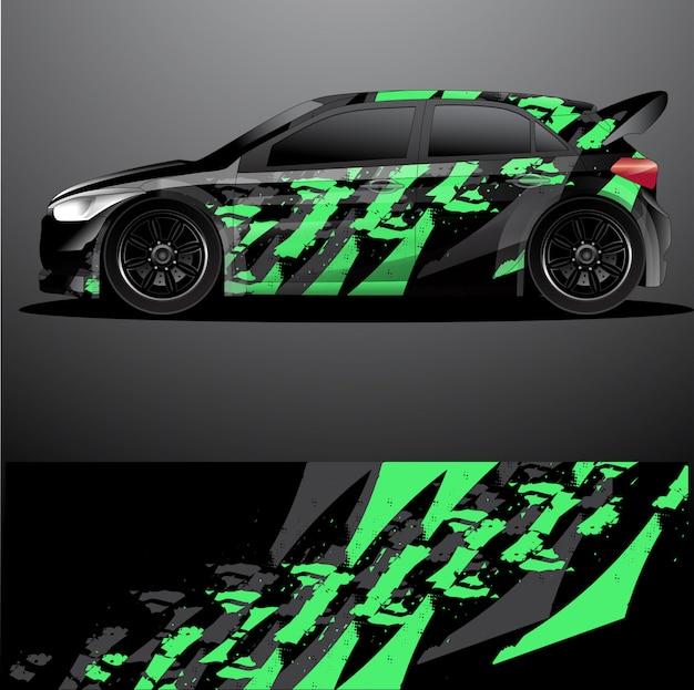 Naklejka graficzna na samochód rajdowy, streszczenie