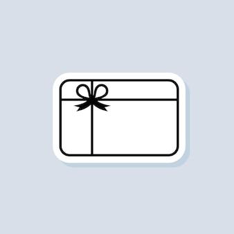 Naklejka karty upominkowej, logo, ikona. wektor. ikony kart lojalnościowych. motywacyjne logo prezentu. zbieraj bonusy, zdobywaj nagrody, odbieraj prezenty, wygrywaj prezenty. wektor na na białym tle. eps 10