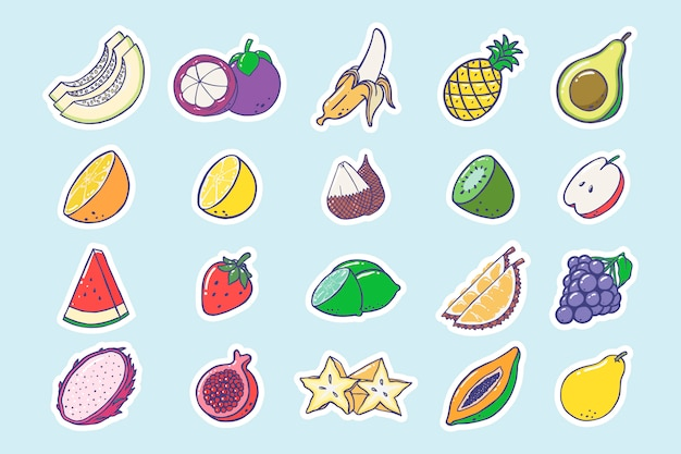 Naklejka kolekcja owoców