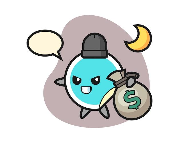 Naklejka kreskówka skradła pieniądze