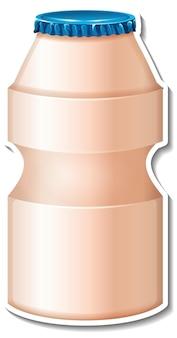 Naklejka na butelkę yakulta na białym tle