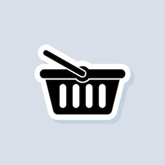 Naklejka na koszyk na zakupy. ikona przycisku dodaj do koszyka. logo koszyka na zakupy. wektor na na białym tle. eps 10.