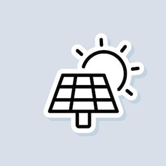 Naklejka na panel z energią słoneczną. ikona zasilania baterii. ikona zielonej energii energii słonecznej. wektor na na białym tle. eps 10.