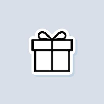 Naklejka na pudełko upominkowe. obecne urodziny święta bożego narodzenia. koncepcja strony i uroczystości. wektor na na białym tle. eps 10.
