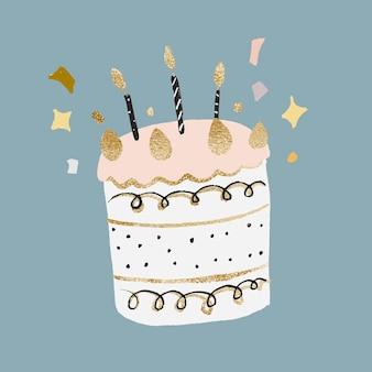 Naklejka na tort urodzinowy, ładny element graficzny wektor