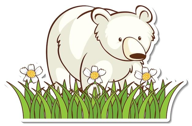 Naklejka niedźwiedź polarny w polu trawy