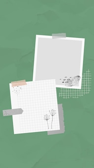 Naklejka notatka notatka wektorowa w stylu memphis, przyklejona na zielonym tle