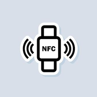 Naklejka płatności zbliżeniowej. bransoletka nfc połączona z ikoną smartfona. telefon nfc zsynchronizowany ze smartwatchem. płatność bezprzewodowa. ikona bezgotówkowych zbliżeniowych. wektor na na białym tle. eps 10.