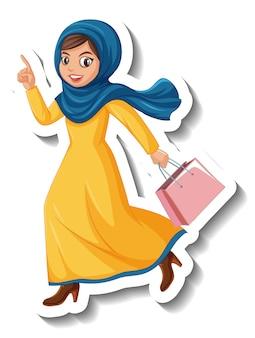 Naklejka postać z kreskówki muzułmańskiej kobiety trzymającej torbę na białym tle