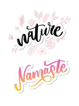 Naklejka produktu naturalnego - nowoczesna kaligrafia odręczna. ekologiczna koncepcja naklejek, banerów, kart, reklamy.