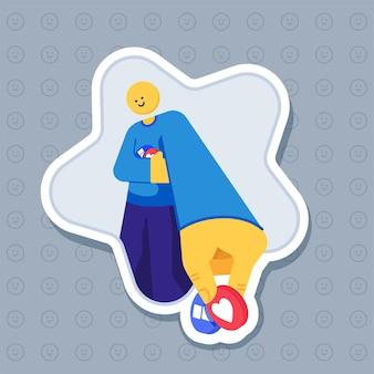 Naklejka przedstawiająca uśmiechniętą postać dającą ilustrację reakcji emoji