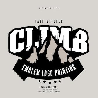 Naklejka ścieżka wspinaczka emblemat na zewnątrz logo efekt tekstowy edytowalny wektor premium