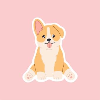 Naklejka siedząca rasy corgi kawaii, zabawny piesek, śliczna buzia z językiem. przyjazny szczęśliwy szczeniak.
