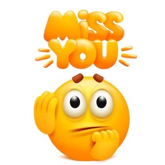 Naklejka tęsknię za tobą z żółtą kreskówkową postacią emoji.