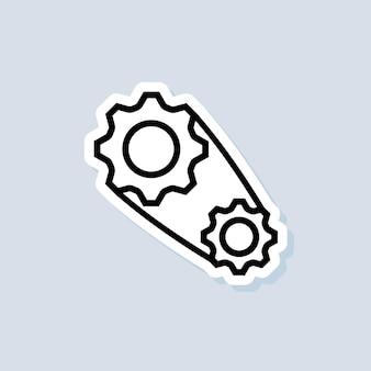 Naklejka ustawień konta. ikona zębatki. ikony ustawień narzędzi. logo koła zębatego. wektor na na białym tle. eps 10.