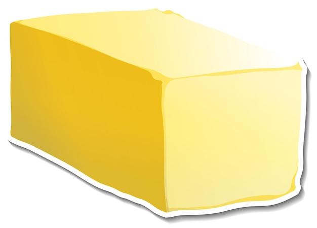 Naklejka z batonikiem masła na białym tle