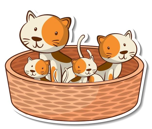 Naklejka z członkami rodziny kotów w koszyku
