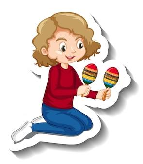 Naklejka z dziewczyną grającą na marakasach