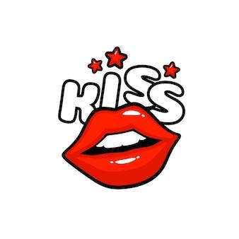 Naklejka z etykietą pocałunek. pocałunek wiadomości. czerwone usta. ilustracja wektorowa