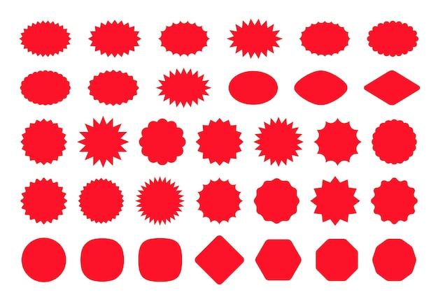 Naklejka z gwiazdką objaśnienia. odznaka z ceną starburst. . burst promocyjne kształty. czerwony, pusty cennik.