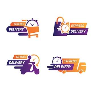 Naklejka z ikoną dostawy ekspresowej do aplikacji i strony internetowej. koncepcja dostawy.