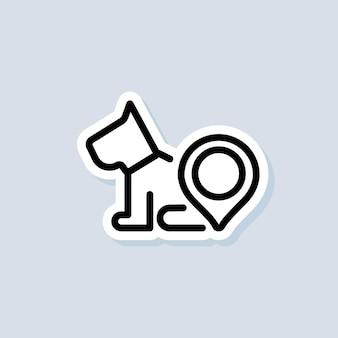 Naklejka z lokalizacją sklepu zoologicznego. centrum zoologiczne, logo kliniki weterynaryjnej. pies z dokładną lokalizacją. wektor na na białym tle. eps 10.