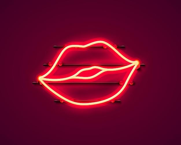 Naklejka z neonowym pocałunkiem. czerwony symbol sexy transparent. ilustracja wektorowa