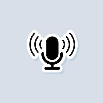 Naklejka z podcastem. ikona mikrofonu. logo, aplikacja, interfejs użytkownika. ikony podcastów radiowych. wektor na na białym tle. eps 10.