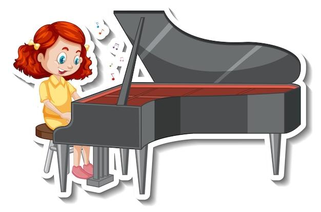 Naklejka z postacią z kreskówek z dziewczyną grającą na pianinie
