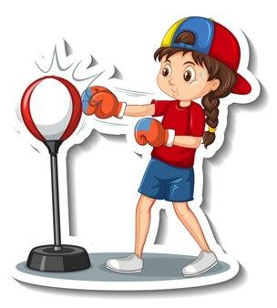 Naklejka z postacią z kreskówek z dziewczyną uderzającą pięścią