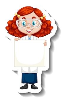 Naklejka z postacią z kreskówek z dziewczyną w sukni naukowej