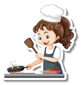 Naklejka z postacią z kreskówek z gotującą dziewczyną kucharza