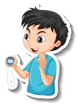 Naklejka z postacią z kreskówek z trenerem sportowym chłopcem trzymającym zegar