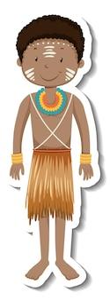 Naklejka z postacią z kreskówki afrykańskiego plemienia