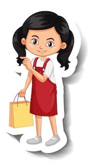 Naklejka z postacią z kreskówki azjatyckiej dziewczyny