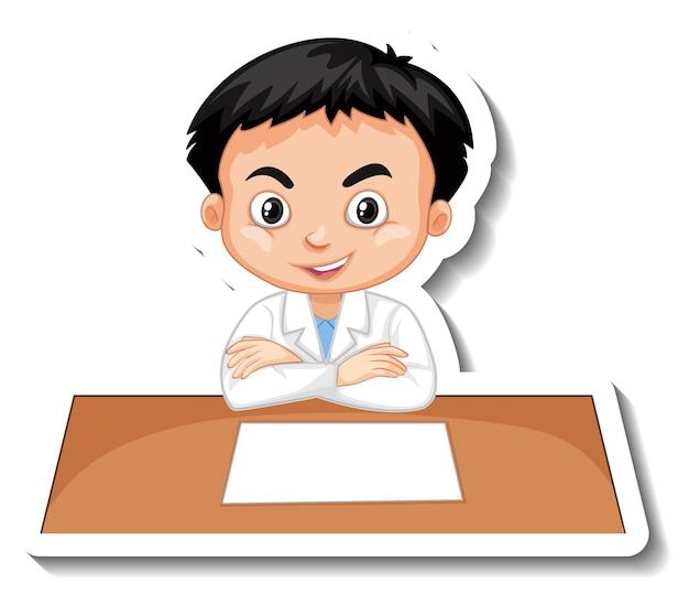Naklejka z postacią z kreskówki chłopca naukowca