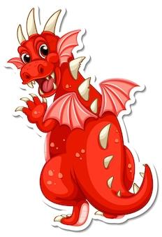 Naklejka z postacią z kreskówki czerwonego smoka