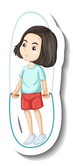Naklejka z postacią z kreskówki dziewczyna skacząca na skakance