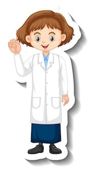 Naklejka z postacią z kreskówki dziewczyna w sukni naukowej
