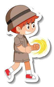 Naklejka z postacią z kreskówki małego harcerza