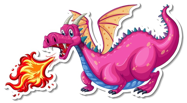 Naklejka z postacią z kreskówki smoka dmuchającego ogniem