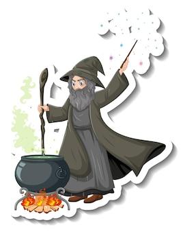 Naklejka z postacią z kreskówki starego czarodzieja warzącego miksturę