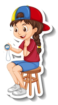 Naklejka z postacią z kreskówki z dziewczyną trenera sportowego trzymającą minutnik