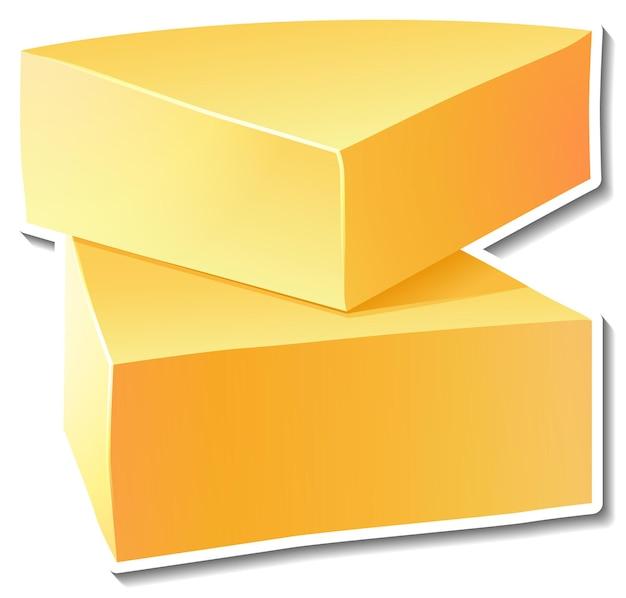Naklejka z serem na białym tle