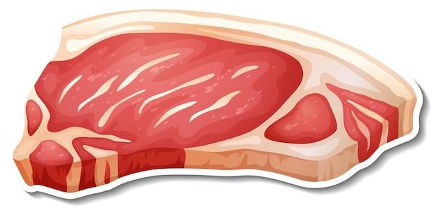 Naklejka z surowym mięsem na białym