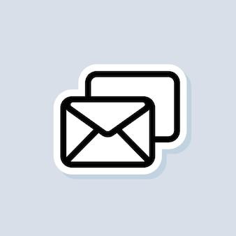 Naklejka ze spamem. logo biuletynu. koperta. ikony poczty e-mail i wiadomości. e-mailowa kampania marketingowa. wektor na na białym tle. eps 10.