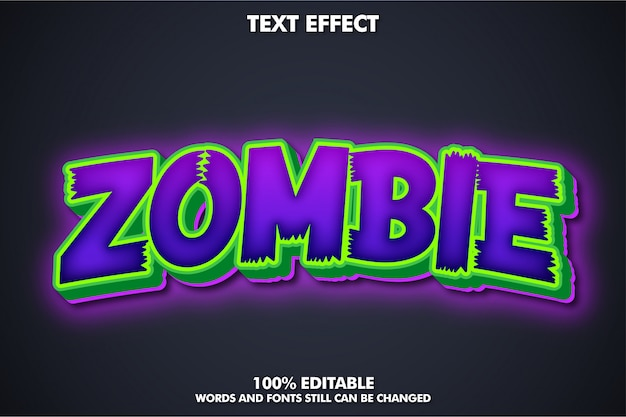 Naklejka zombie, edytowalny efekt tekstowy cartoom