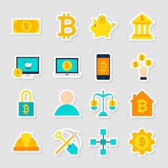 Naklejki bitcoin kryptowaluta. ilustracja wektorowa płaski. zbiór symboli finansowych.