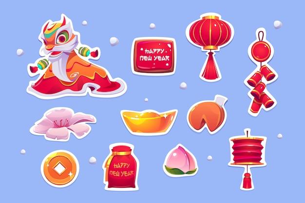 Naklejki chińskiego nowego roku.